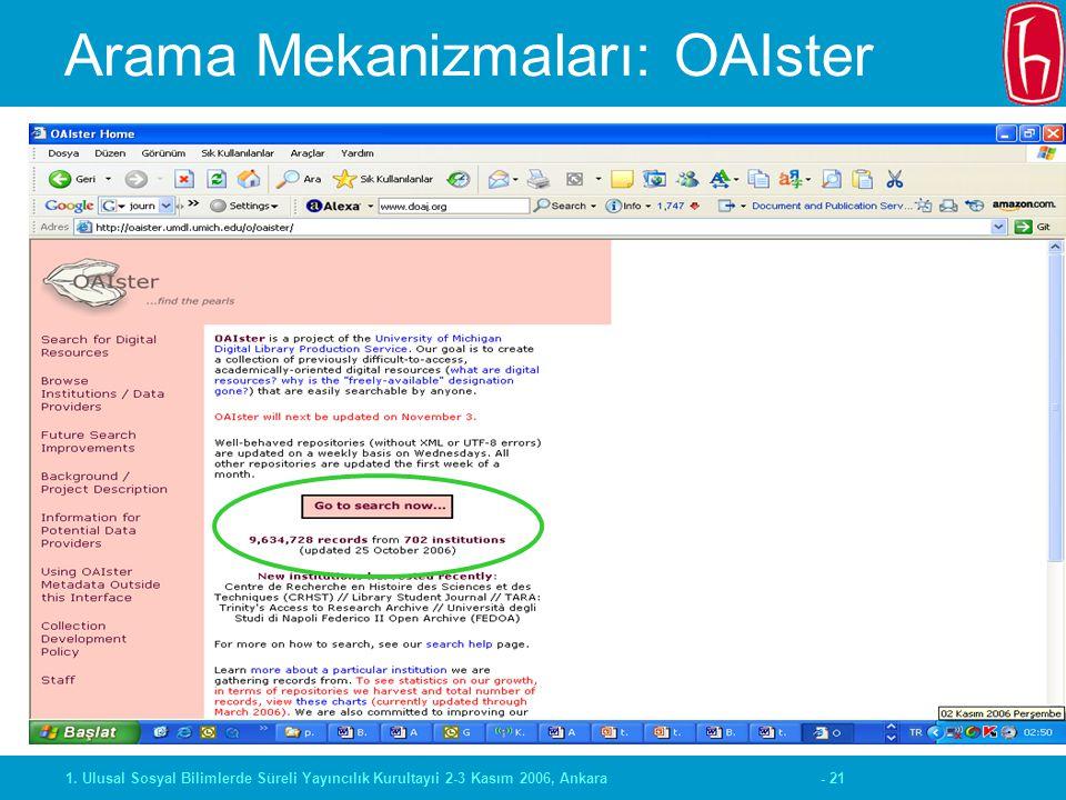 - 211. Ulusal Sosyal Bilimlerde Süreli Yayıncılık Kurultayıi 2-3 Kasım 2006, Ankara Arama Mekanizmaları: OAIster