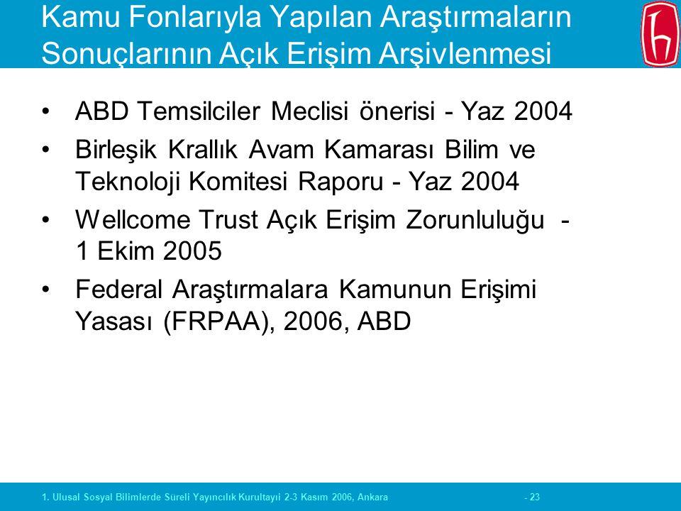 - 231. Ulusal Sosyal Bilimlerde Süreli Yayıncılık Kurultayıi 2-3 Kasım 2006, Ankara Kamu Fonlarıyla Yapılan Araştırmaların Sonuçlarının Açık Erişim Ar