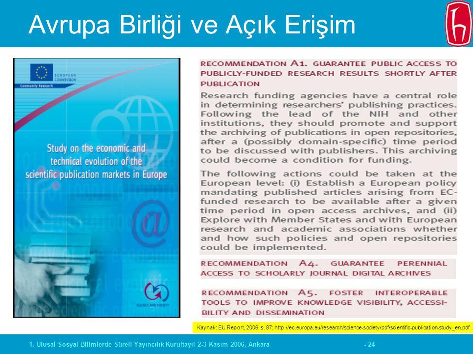 - 241. Ulusal Sosyal Bilimlerde Süreli Yayıncılık Kurultayıi 2-3 Kasım 2006, Ankara Avrupa Birliği ve Açık Erişim Kaynak: EU Report, 2006, s. 87; http