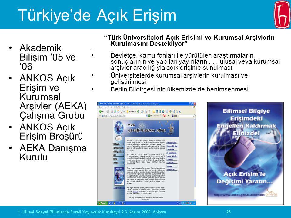 """- 251. Ulusal Sosyal Bilimlerde Süreli Yayıncılık Kurultayıi 2-3 Kasım 2006, Ankara Türkiye'de Açık Erişim """"Türk Üniversiteleri Açık Erişimi ve Kurums"""
