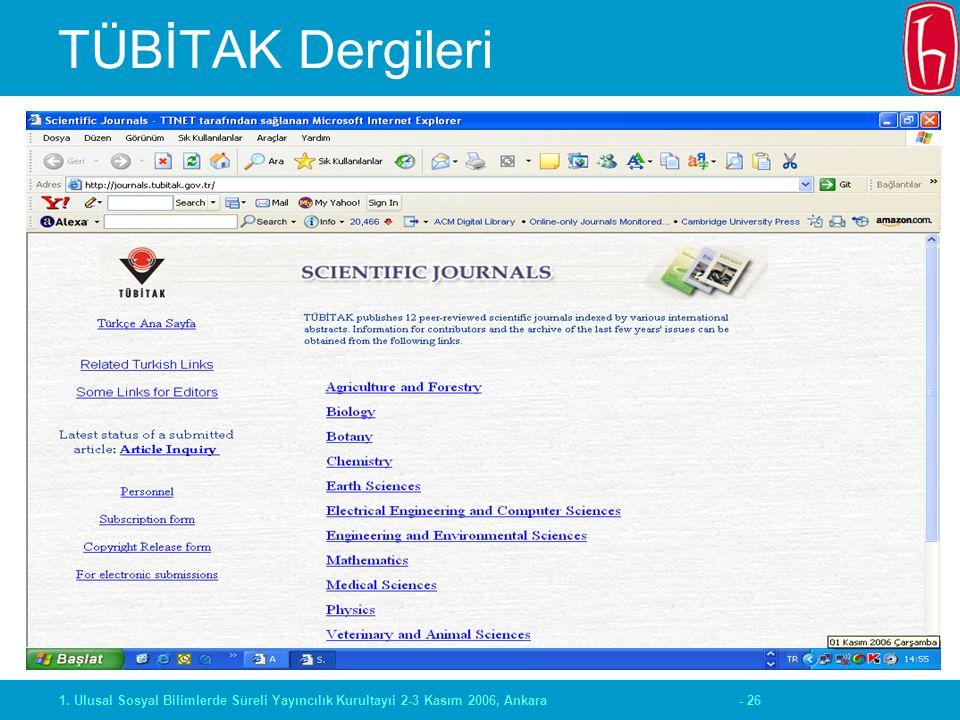 - 261. Ulusal Sosyal Bilimlerde Süreli Yayıncılık Kurultayıi 2-3 Kasım 2006, Ankara TÜBİTAK Dergileri