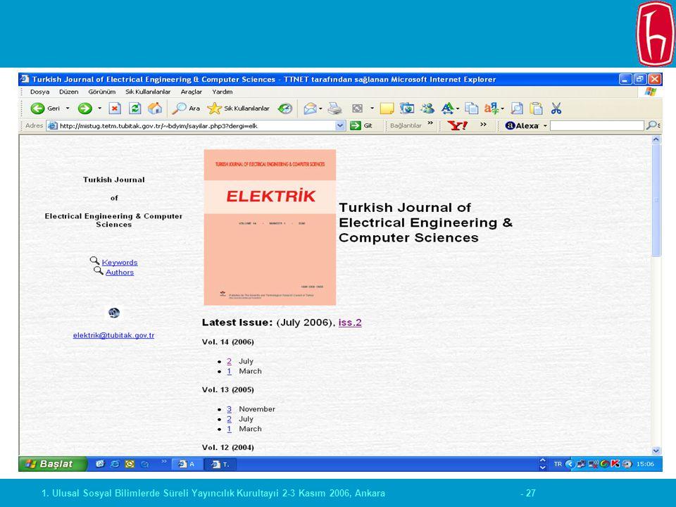 - 271. Ulusal Sosyal Bilimlerde Süreli Yayıncılık Kurultayıi 2-3 Kasım 2006, Ankara