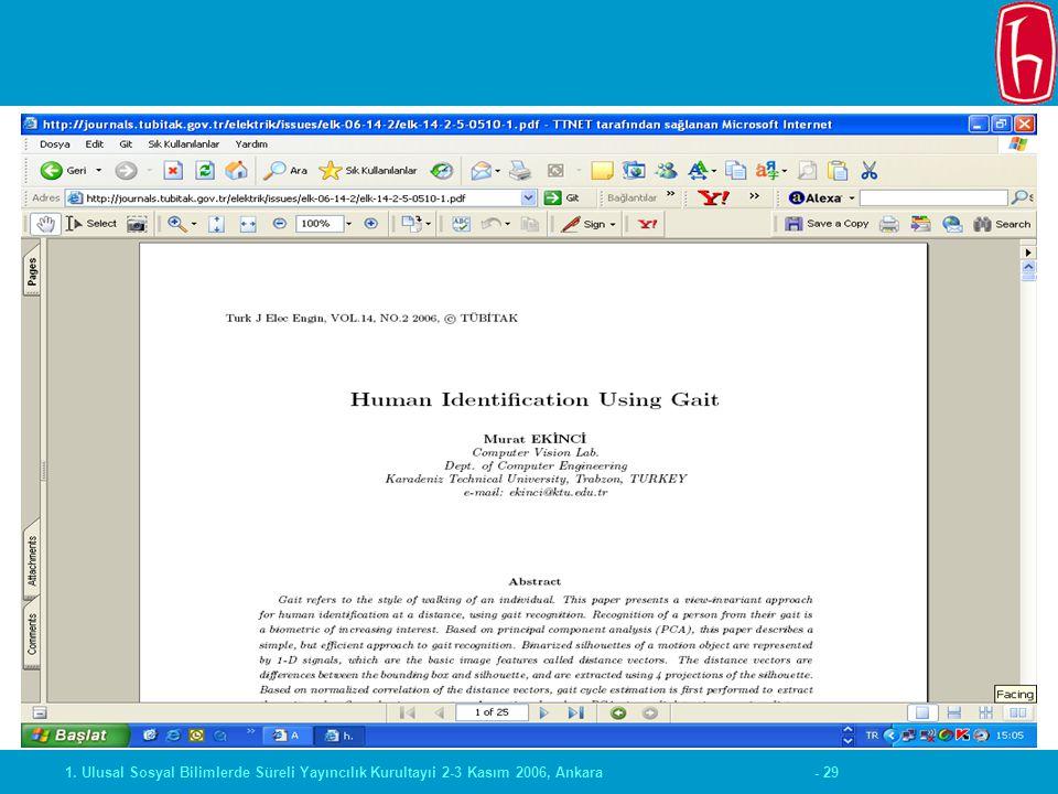 - 291. Ulusal Sosyal Bilimlerde Süreli Yayıncılık Kurultayıi 2-3 Kasım 2006, Ankara