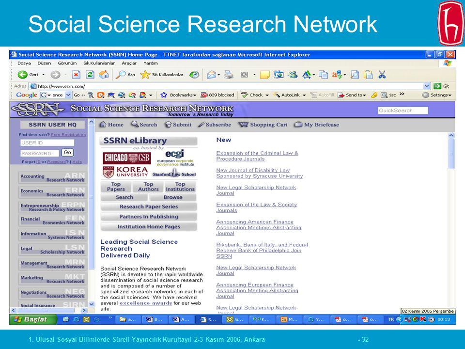 - 321. Ulusal Sosyal Bilimlerde Süreli Yayıncılık Kurultayıi 2-3 Kasım 2006, Ankara Social Science Research Network