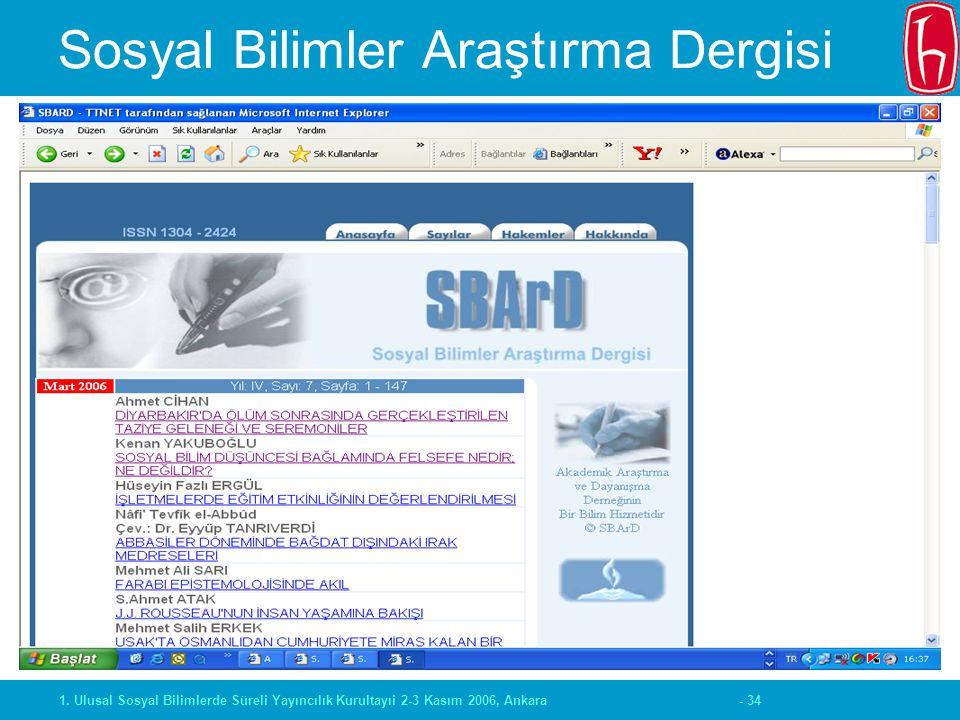 - 341. Ulusal Sosyal Bilimlerde Süreli Yayıncılık Kurultayıi 2-3 Kasım 2006, Ankara Sosyal Bilimler Araştırma Dergisi
