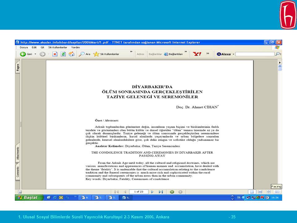 - 351. Ulusal Sosyal Bilimlerde Süreli Yayıncılık Kurultayıi 2-3 Kasım 2006, Ankara