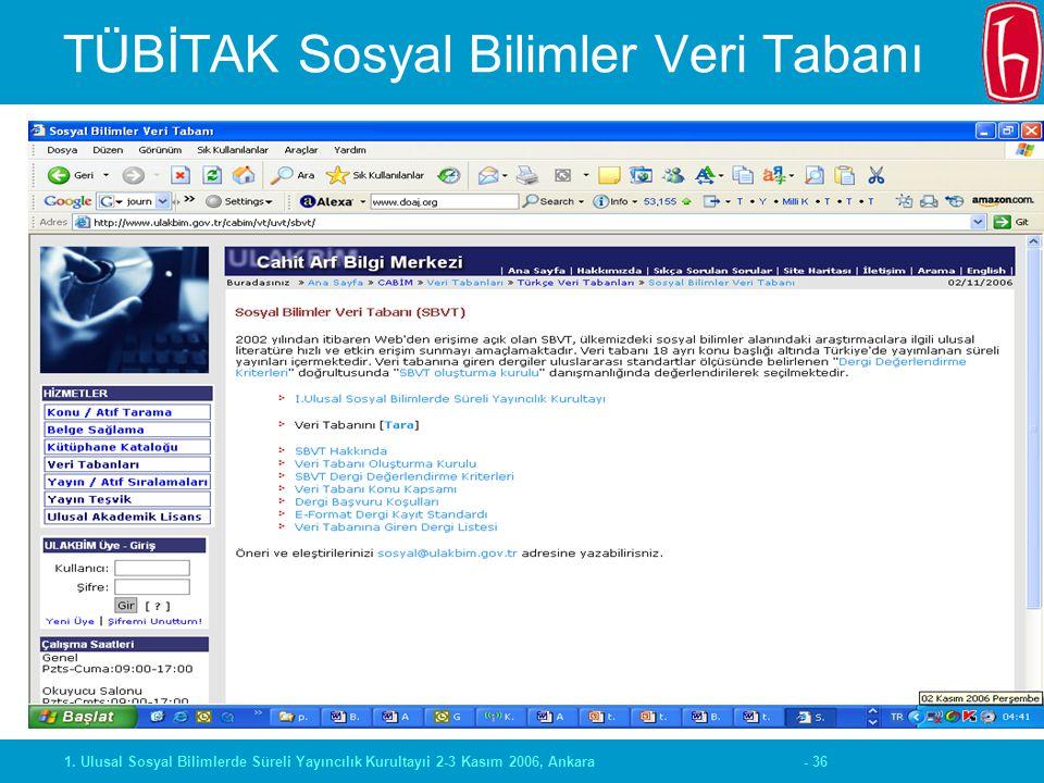 - 361. Ulusal Sosyal Bilimlerde Süreli Yayıncılık Kurultayıi 2-3 Kasım 2006, Ankara TÜBİTAK Sosyal Bilimler Veri Tabanı