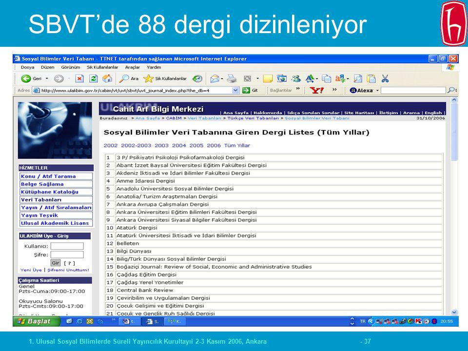 - 371. Ulusal Sosyal Bilimlerde Süreli Yayıncılık Kurultayıi 2-3 Kasım 2006, Ankara SBVT'de 88 dergi dizinleniyor