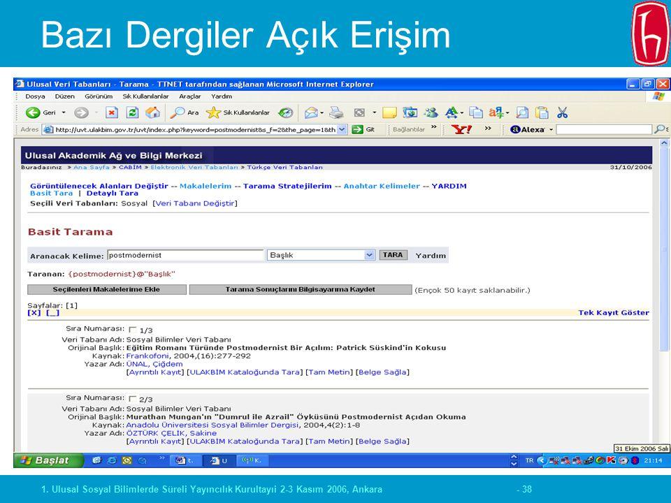- 381. Ulusal Sosyal Bilimlerde Süreli Yayıncılık Kurultayıi 2-3 Kasım 2006, Ankara Bazı Dergiler Açık Erişim