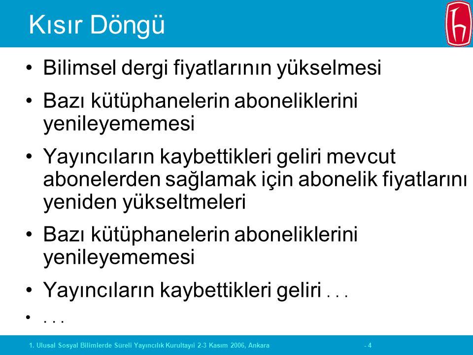 - 41. Ulusal Sosyal Bilimlerde Süreli Yayıncılık Kurultayıi 2-3 Kasım 2006, Ankara Kısır Döngü Bilimsel dergi fiyatlarının yükselmesi Bazı kütüphanele