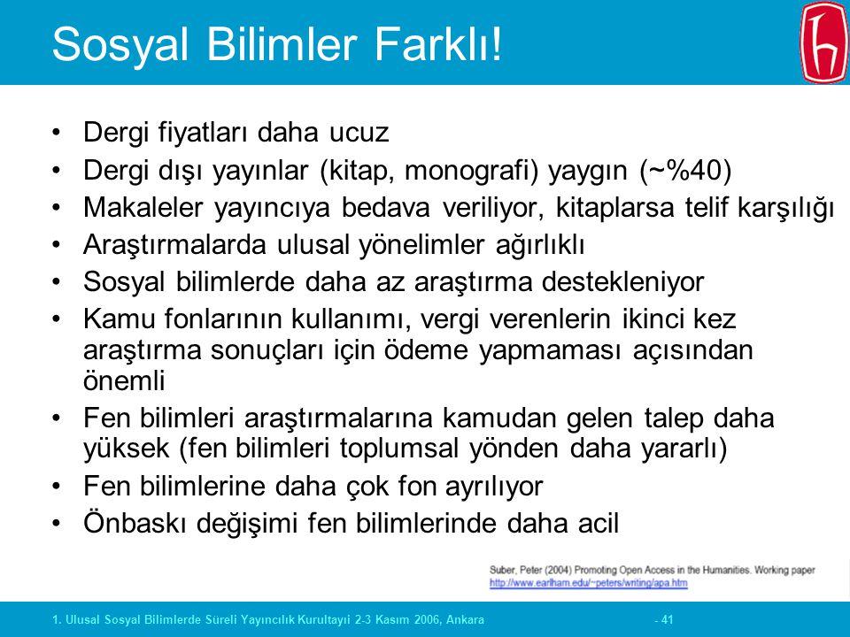 - 411. Ulusal Sosyal Bilimlerde Süreli Yayıncılık Kurultayıi 2-3 Kasım 2006, Ankara Sosyal Bilimler Farklı! Dergi fiyatları daha ucuz Dergi dışı yayın