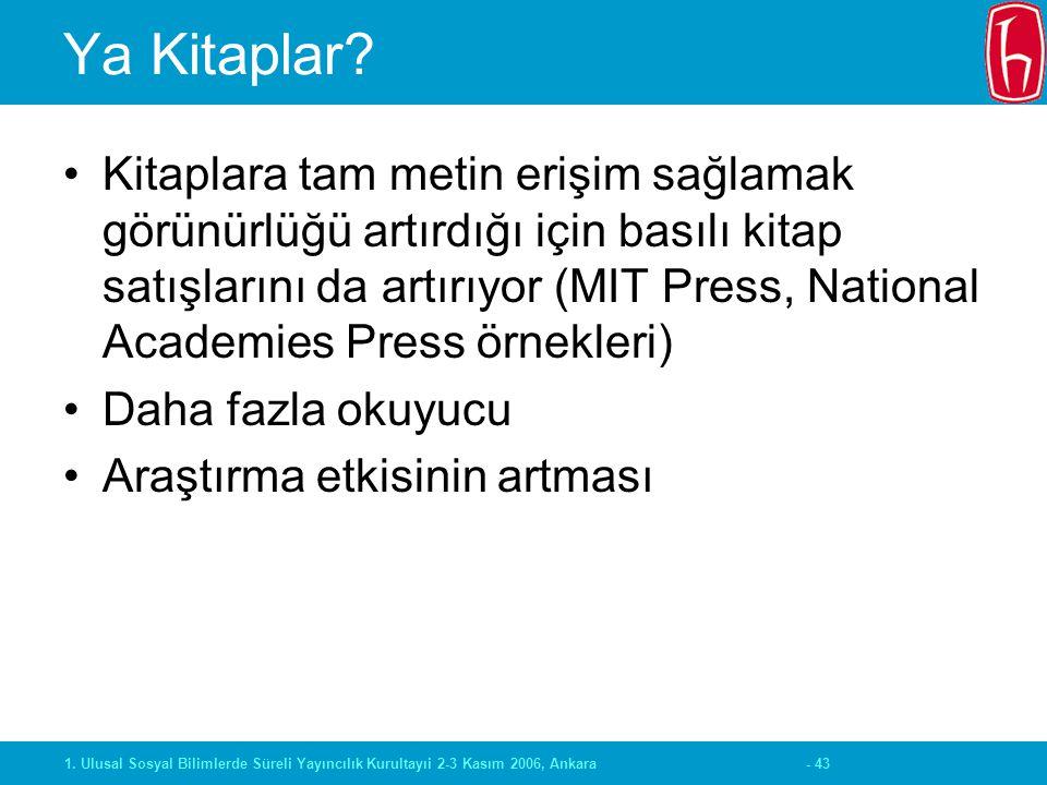 - 431. Ulusal Sosyal Bilimlerde Süreli Yayıncılık Kurultayıi 2-3 Kasım 2006, Ankara Ya Kitaplar? Kitaplara tam metin erişim sağlamak görünürlüğü artır
