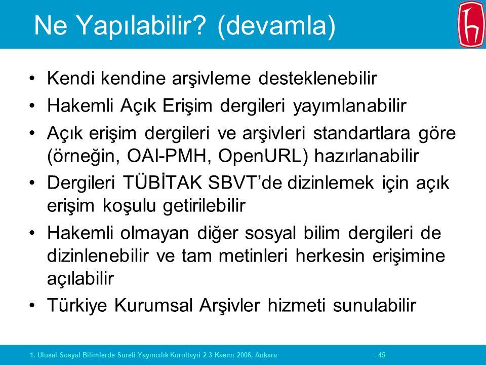 - 451. Ulusal Sosyal Bilimlerde Süreli Yayıncılık Kurultayıi 2-3 Kasım 2006, Ankara Ne Yapılabilir? (devamla) Kendi kendine arşivleme desteklenebilir