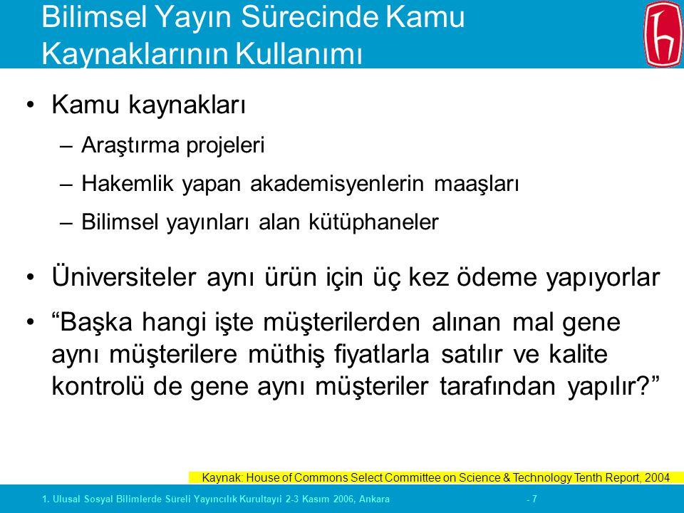 - 71. Ulusal Sosyal Bilimlerde Süreli Yayıncılık Kurultayıi 2-3 Kasım 2006, Ankara Bilimsel Yayın Sürecinde Kamu Kaynaklarının Kullanımı Kamu kaynakla