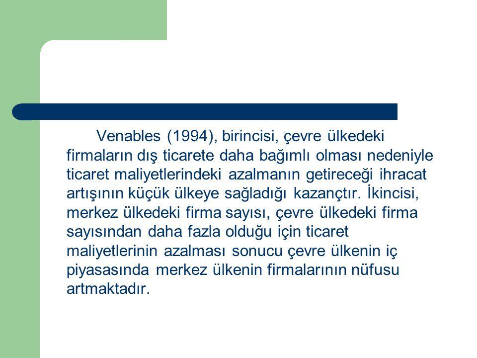 Venables (1994), birincisi, çevre ülkedeki firmaların dış ticarete daha bağımlı olması nedeniyle ticaret maliyetlerindeki azalmanın getireceği ihracat