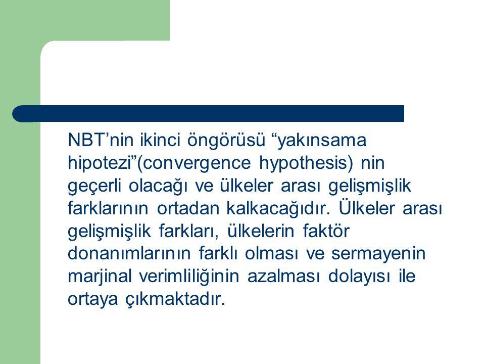 """NBT'nin ikinci öngörüsü """"yakınsama hipotezi""""(convergence hypothesis) nin geçerli olacağı ve ülkeler arası gelişmişlik farklarının ortadan kalkacağıdır"""