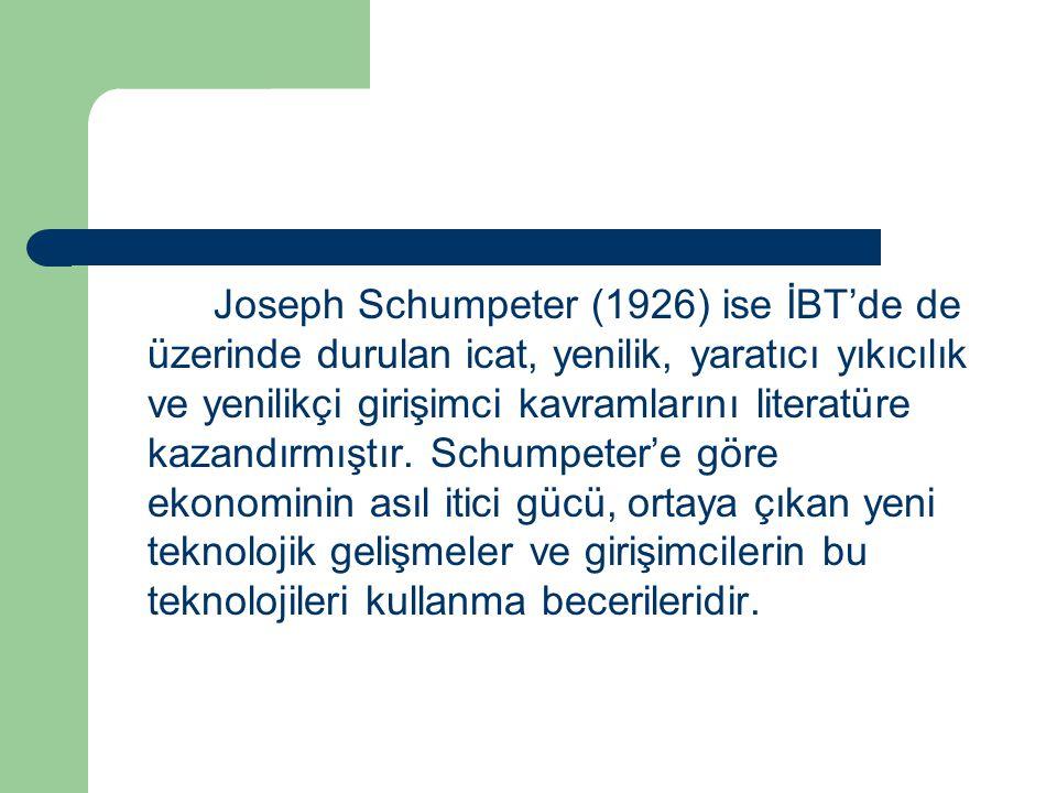 Joseph Schumpeter (1926) ise İBT'de de üzerinde durulan icat, yenilik, yaratıcı yıkıcılık ve yenilikçi girişimci kavramlarını literatüre kazandırmıştı