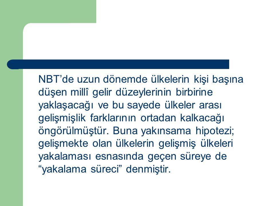 NBT'de uzun dönemde ülkelerin kişi başına düşen millî gelir düzeylerinin birbirine yaklaşacağı ve bu sayede ülkeler arası gelişmişlik farklarının orta