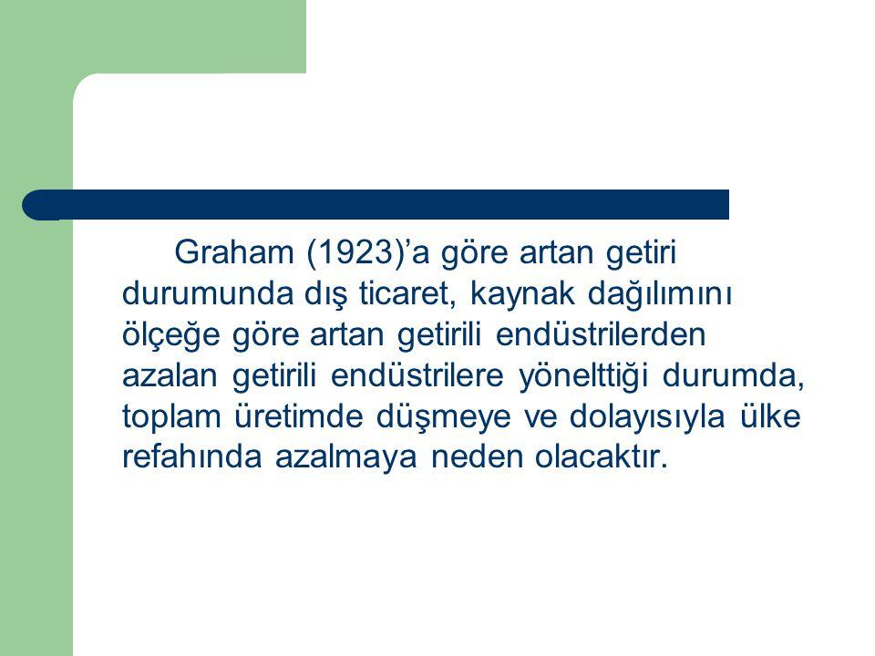 Graham (1923)'a göre artan getiri durumunda dış ticaret, kaynak dağılımını ölçeğe göre artan getirili endüstrilerden azalan getirili endüstrilere yöne