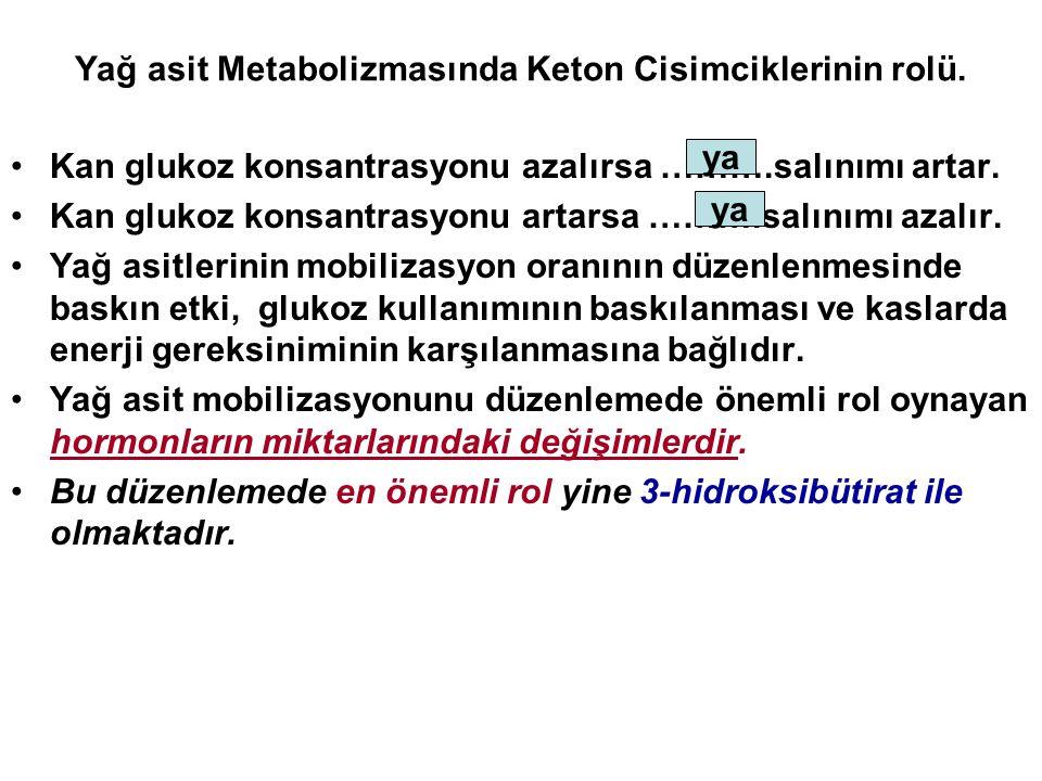 Yağ asit Metabolizmasında Keton Cisimciklerinin rolü. Kan glukoz konsantrasyonu azalırsa ……….salınımı artar. Kan glukoz konsantrasyonu artarsa ……….sal