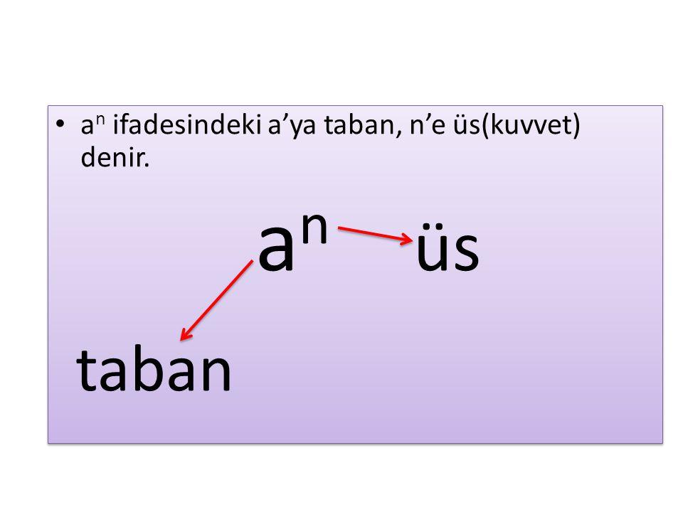 a n ifadesindeki a'ya taban, n'e üs(kuvvet) denir. a n üs taban a n ifadesindeki a'ya taban, n'e üs(kuvvet) denir. a n üs taban