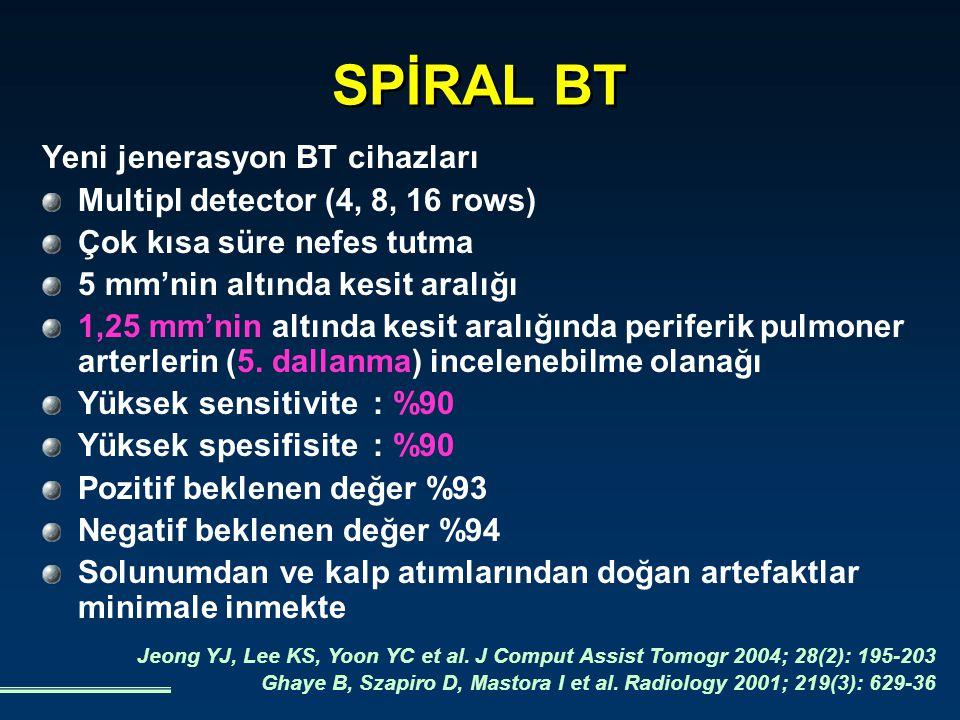 PE kuşkulu hastaların tanı ve tedavi stratejilerinde spiral BT'nin etkisi Trowbridge RL, Araoz PA, Gotway MB et al.