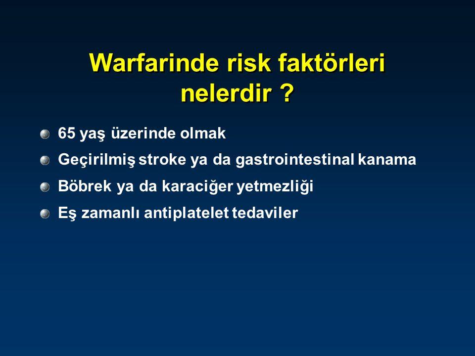 Warfarine bağlı kanama riski INR 3.0-5.0 INR 5.0-9.0 ; Ek kanama riski yok INR 5.0-9.0 ; Ek kanama riski var Acil cerrahi girişim gereği var INR>9.0 Ciddi kanama ya da aşırı doz (INR>20.0) Warfarin tedavisi sürdürülecekse Dozu düşür, bir sonraki dozu atla Sonraki iki dozu atla INR terapötik doza inene kadar düşük doz Warfarini kes 1-2.5 mg PO Vit-K ver 2-4 mg PO Vit-K 24 saat sonunda INR yüksekse 1-2 mg Vit-K Warfarini kes, 3-5 mg PO Vit-K ver Yakın INR takibi yap Vit-K 10 mg yavaş İV infüzyon Vit-K etkisi geçene kadar heparin Dozu düşür, bir sonraki dozu atla Sonraki iki dozu atla INR terapötik doza inene kadar düşük doz Warfarini kes 1-2.5 mg PO Vit-K ver 2-4 mg PO Vit-K 24 saat sonunda INR yüksekse 1-2 mg Vit-K Warfarini kes, 3-5 mg PO Vit-K ver Yakın INR takibi yap Vit-K 10 mg yavaş İV infüzyon Vit-K etkisi geçene kadar heparin
