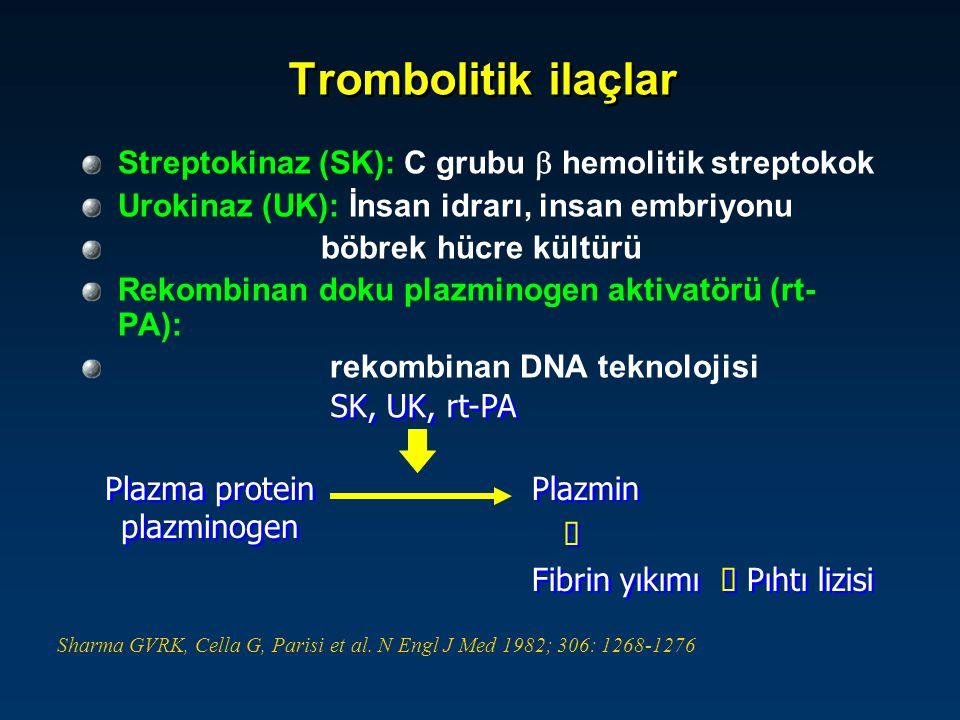 Trombolitik ilaçlar - tedavi şeması İlaçTedavi Şeması Streptokinaz - 250.000 U / 30 dk +100.000 U /sa.(12-24 saat) - 1.500.000 U /1-2 saat Urokinaz - 4400 U / 10 dk + 4400 U/kg/sa.(12-24 saat) - 1.000.000 U / 10 dk.