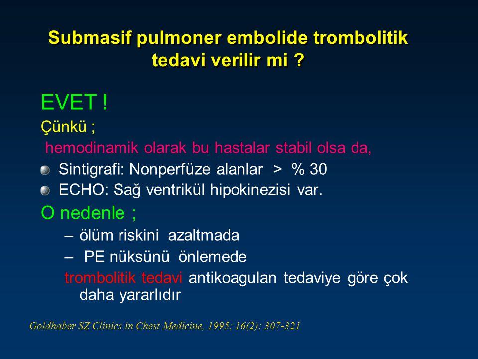 rt-PA (N=18) Heparin (N=18) p = 0.03 Submasif PE'li olgularda trombolitik tedavinin etkinliği Hemodinamik olarak stabil ve başlangıç ECHO'larında sağ ventrikül fonksiyon bozukluğu (hipokinezi) olan 36 hasta Submasif PE'li olgularda trombolitik tedavinin etkinliği Hemodinamik olarak stabil ve başlangıç ECHO'larında sağ ventrikül fonksiyon bozukluğu (hipokinezi) olan 36 hasta Goldhaber SZ et al.