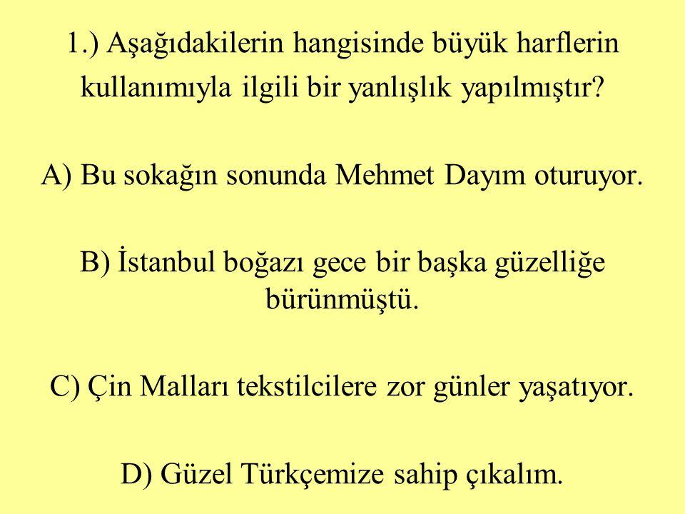1.) Aşağıdakilerin hangisinde büyük harflerin kullanımıyla ilgili bir yanlışlık yapılmıştır? A) Bu sokağın sonunda Mehmet Dayım oturuyor. B) İstanbul