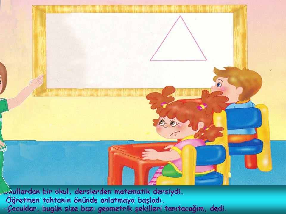 Okullardan bir okul, derslerden matematik dersiydi. Öğretmen tahtanın önünde anlatmaya başladı. -Çocuklar, bugün size bazı geometrik şekilleri tanıtac