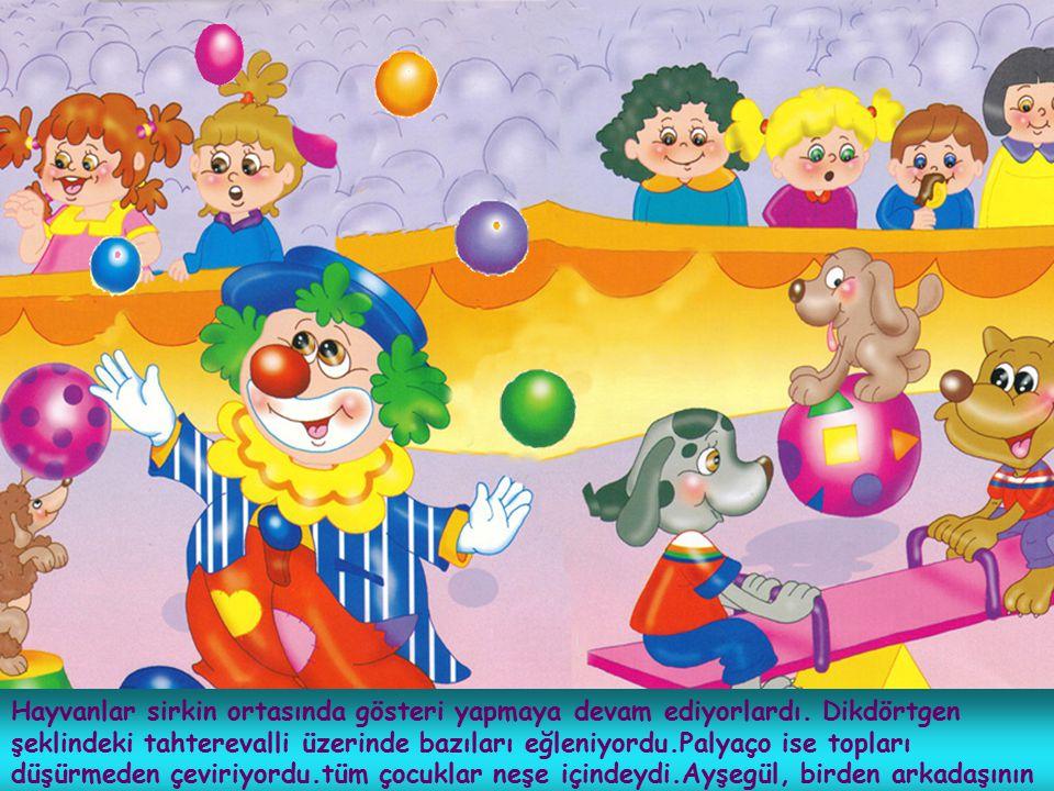 Hayvanlar sirkin ortasında gösteri yapmaya devam ediyorlardı. Dikdörtgen şeklindeki tahterevalli üzerinde bazıları eğleniyordu.Palyaço ise topları düş