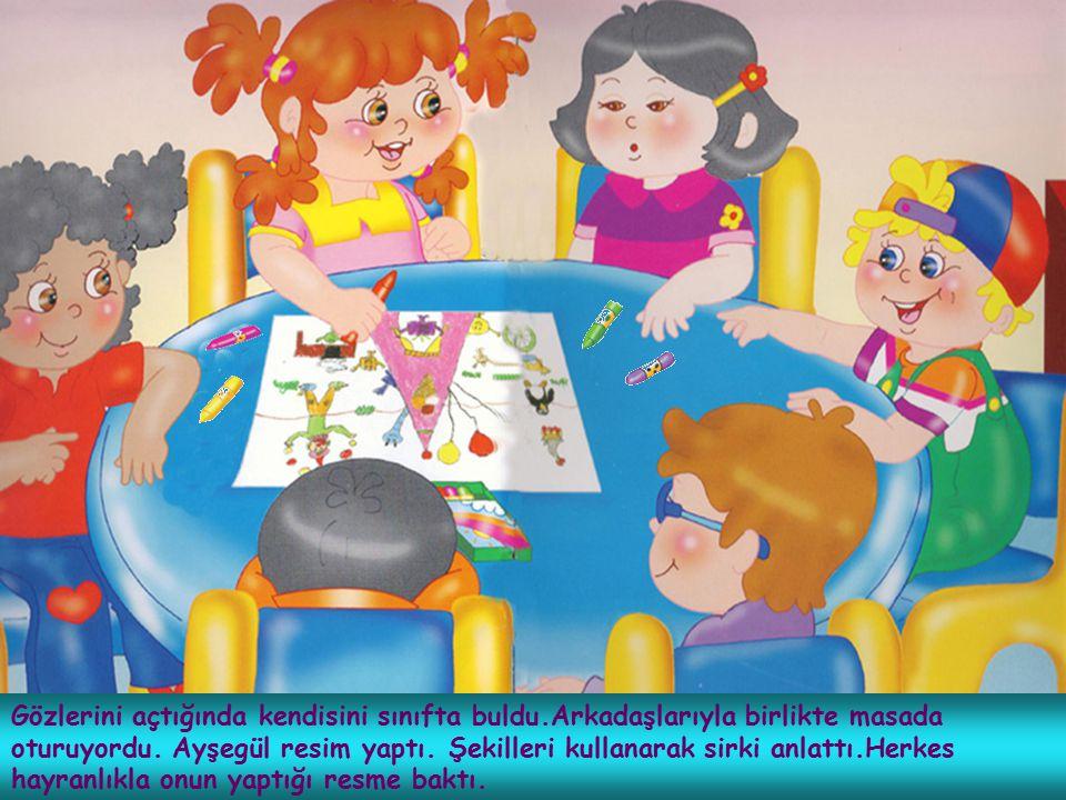 Gözlerini açtığında kendisini sınıfta buldu.Arkadaşlarıyla birlikte masada oturuyordu. Ayşegül resim yaptı. Şekilleri kullanarak sirki anlattı.Herkes