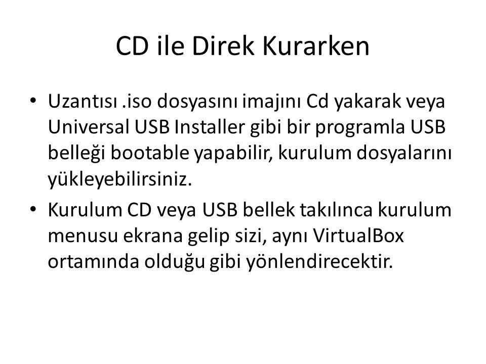 CD ile Direk Kurarken Uzantısı.iso dosyasını imajını Cd yakarak veya Universal USB Installer gibi bir programla USB belleği bootable yapabilir, kurulu