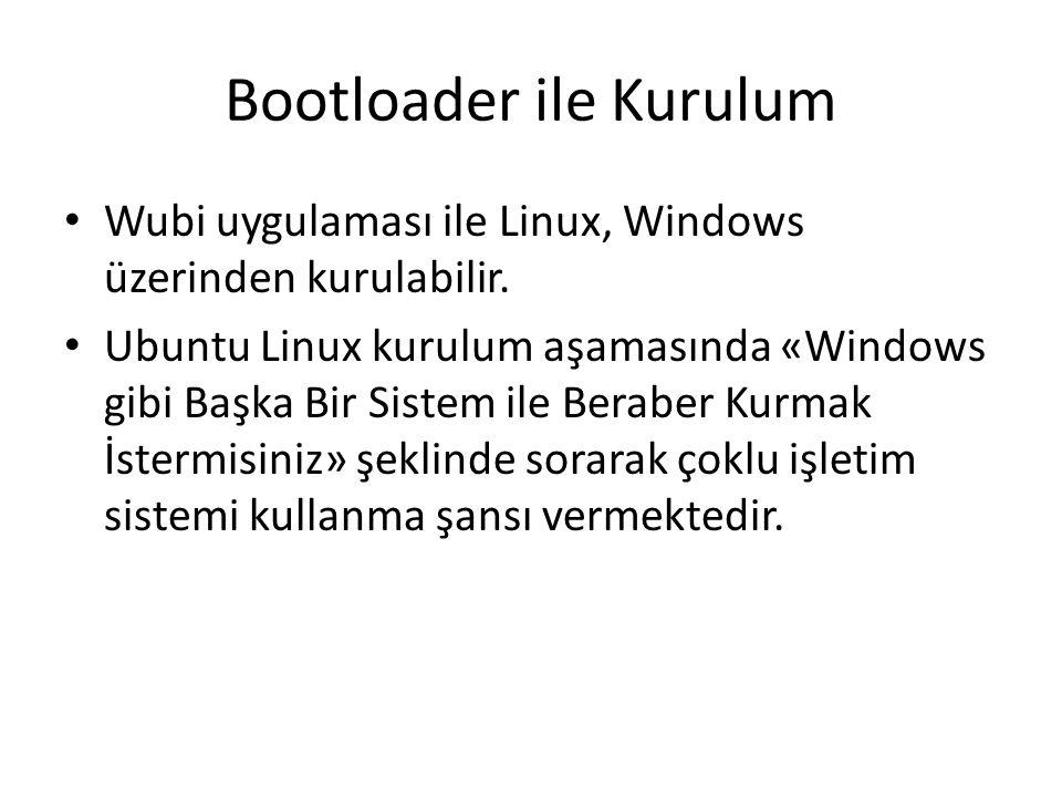 Bootloader ile Kurulum Wubi uygulaması ile Linux, Windows üzerinden kurulabilir. Ubuntu Linux kurulum aşamasında «Windows gibi Başka Bir Sistem ile Be