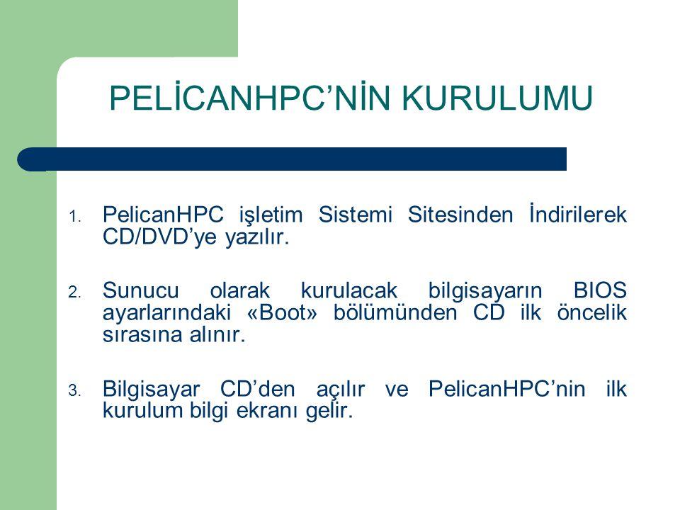 PELİCANHPC'NİN KURULUMU 1. PelicanHPC işletim Sistemi Sitesinden İndirilerek CD/DVD'ye yazılır.