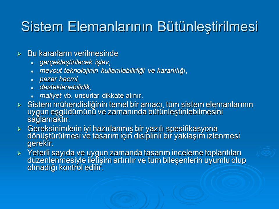 Sistem Elemanlarının Bütünleştirilmesi  Bu kararların verilmesinde gerçekleştirilecek işlev, gerçekleştirilecek işlev, mevcut teknolojinin kullanılab