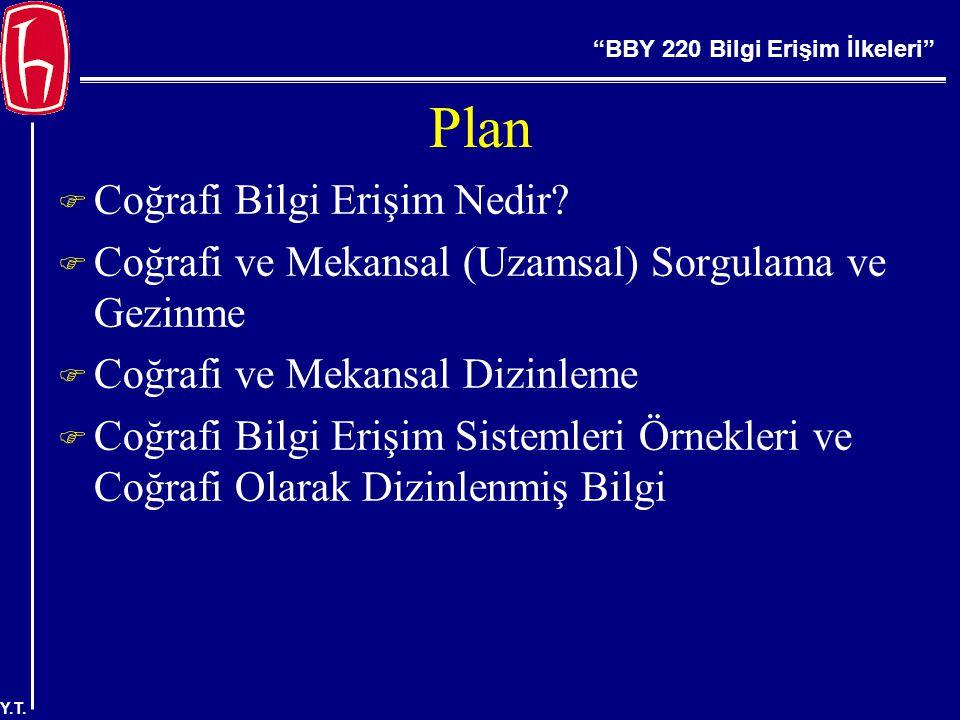 BBY 220 Bilgi Erişim İlkeleri Y.T. Plan  Coğrafi Bilgi Erişim Nedir.
