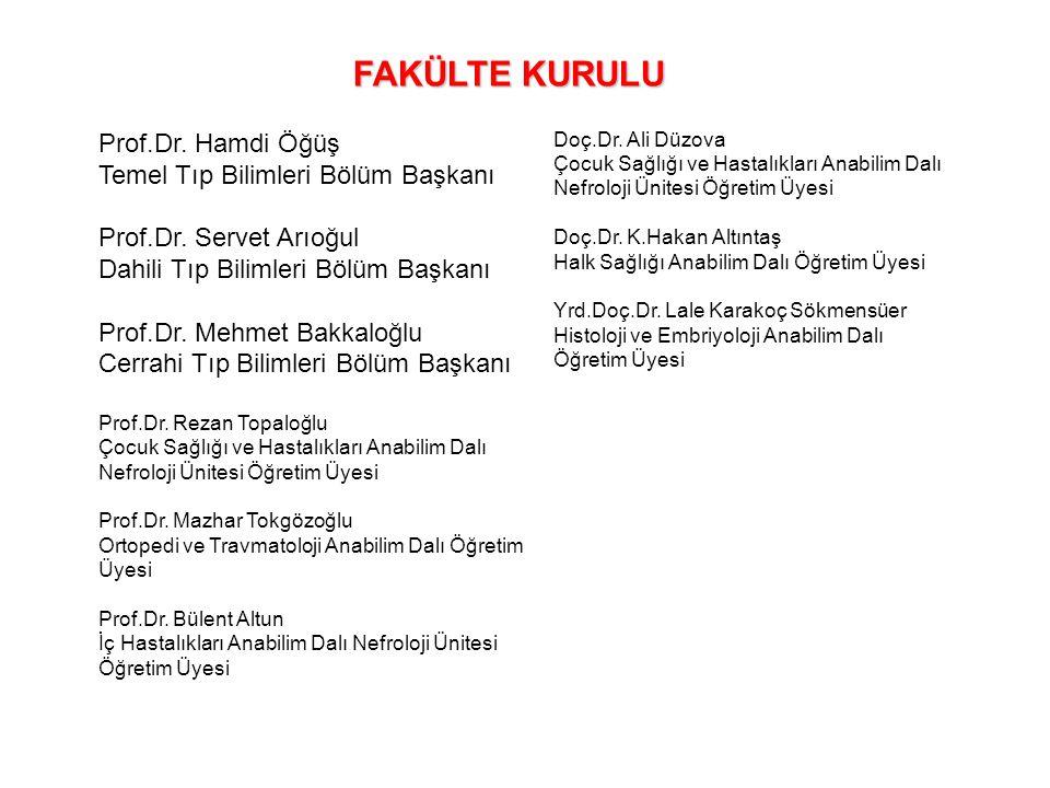 Prof.Dr. Hamdi Öğüş Temel Tıp Bilimleri Bölüm Başkanı Prof.Dr. Servet Arıoğul Dahili Tıp Bilimleri Bölüm Başkanı Prof.Dr. Mehmet Bakkaloğlu Cerrahi Tı