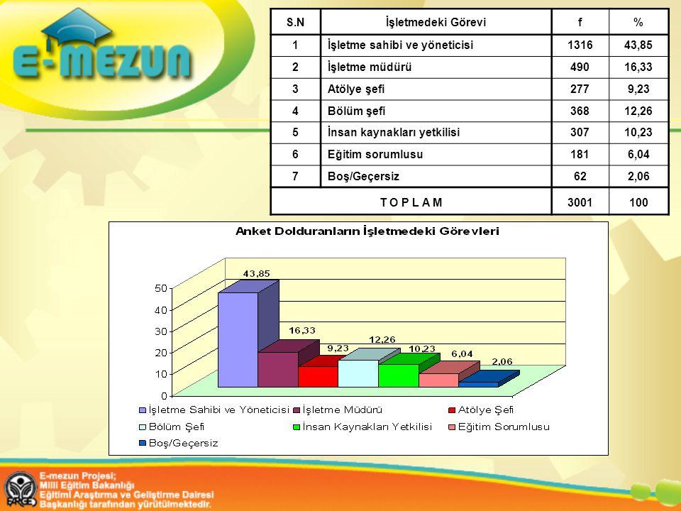 S.Nİşletmedeki Görevif% 1İşletme sahibi ve yöneticisi1316 43,85 2İşletme müdürü490 16,33 3Atölye şefi277 9,23 4Bölüm şefi368 12,26 5İnsan kaynakları yetkilisi307 10,23 6Eğitim sorumlusu181 6,04 7Boş/Geçersiz62 2,06 T O P L A M3001100
