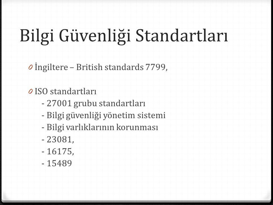 Bilgi Güvenliği Standartları 0 İngiltere – British standards 7799, 0 ISO standartları - 27001 grubu standartları - Bilgi güvenliği yönetim sistemi - Bilgi varlıklarının korunması - 23081, - 16175, - 15489