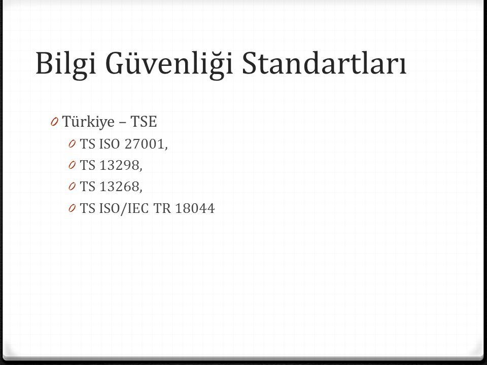 Bilgi Güvenliği Standartları 0 Türkiye – TSE 0 TS ISO 27001, 0 TS 13298, 0 TS 13268, 0 TS ISO/IEC TR 18044