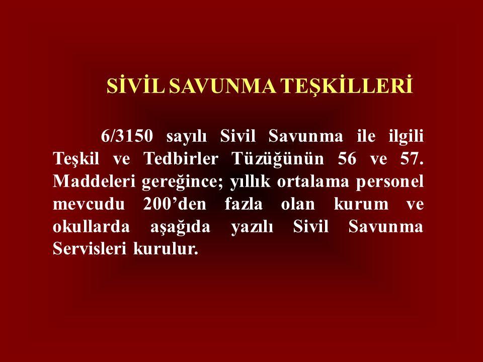 SİVİL SAVUNMA TEŞKİLLERİ 6/3150 sayılı Sivil Savunma ile ilgili Teşkil ve Tedbirler Tüzüğünün 56 ve 57. Maddeleri gereğince; yıllık ortalama personel