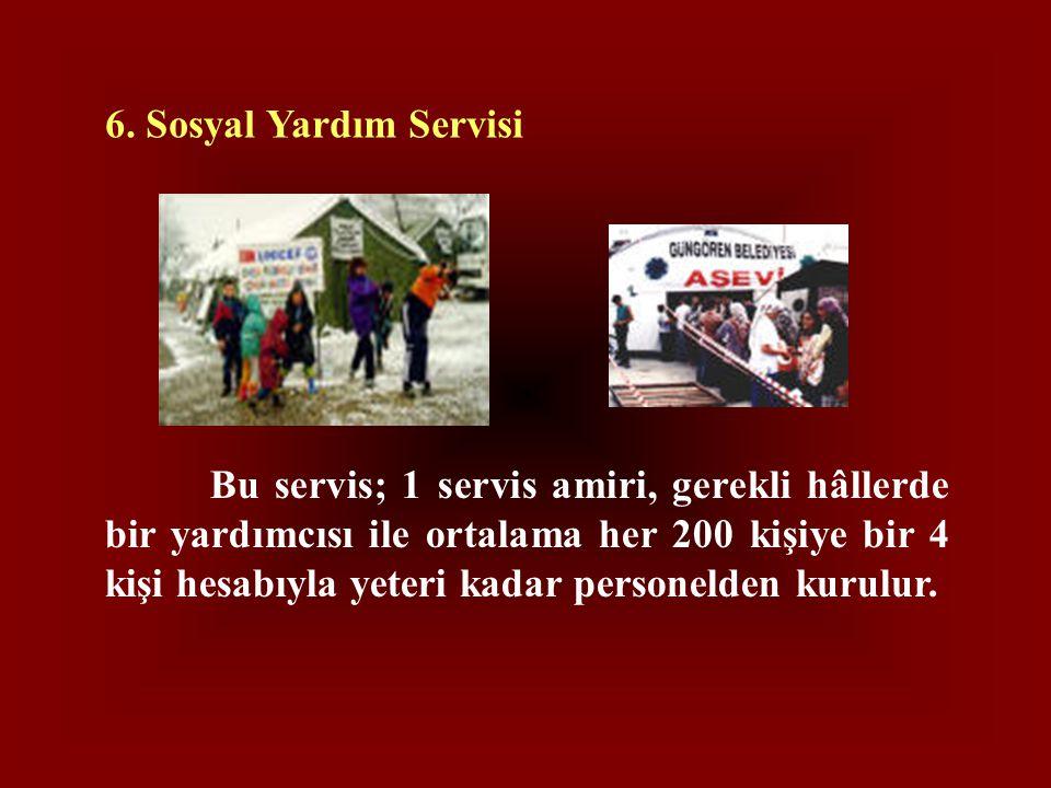 6. Sosyal Yardım Servisi Bu servis; 1 servis amiri, gerekli hâllerde bir yardımcısı ile ortalama her 200 kişiye bir 4 kişi hesabıyla yeteri kadar pers
