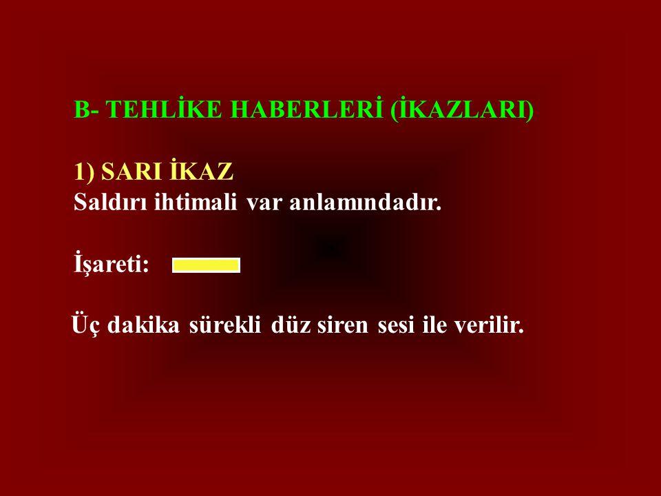 B- TEHLİKE HABERLERİ (İKAZLARI) 1) SARI İKAZ Saldırı ihtimali var anlamındadır.