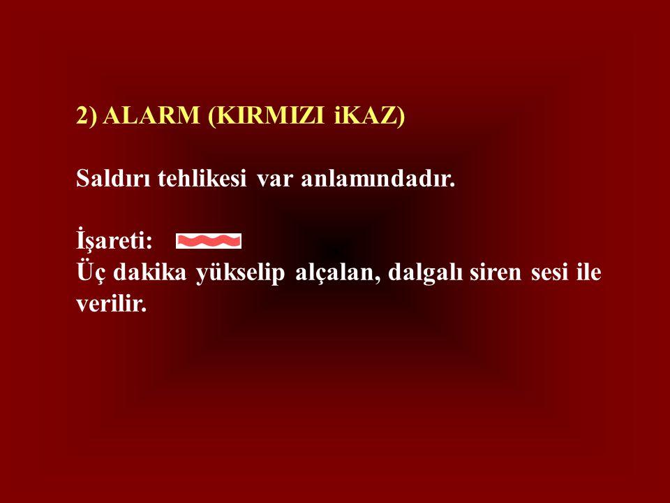 2) ALARM (KIRMIZI iKAZ) Saldırı tehlikesi var anlamındadır.