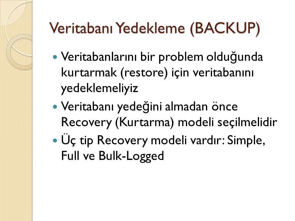 Veritabanı Yedekleme (BACKUP) Veritabanlarını bir problem oldu ğ unda kurtarmak (restore) için veritabanını yedeklemeliyiz Veritabanı yede ğ ini almad
