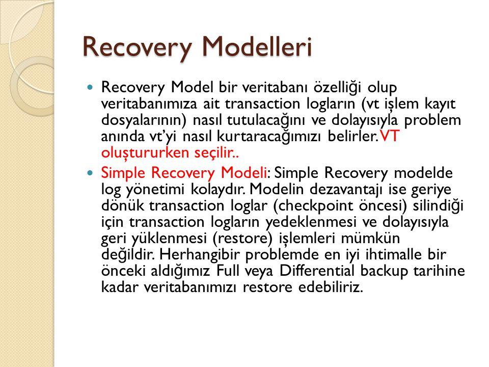 Recovery Modelleri Recovery Model bir veritabanı özelli ğ i olup veritabanımıza ait transaction logların (vt işlem kayıt dosyalarının) nasıl tutulaca