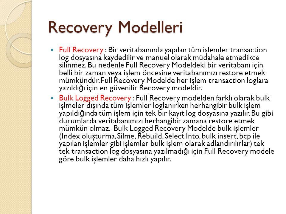 Recovery Modelleri Full Recovery : Bir veritabanında yapılan tüm işlemler transaction log dosyasına kaydedilir ve manuel olarak müdahale etmedikce sil