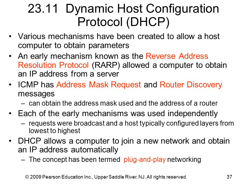 © 2009 Pearson Education Inc., Upper Saddle River, NJ. All rights reserved.37 23.11 Dynamic Host Configuration Protocol (DHCP) Various mechanisms have
